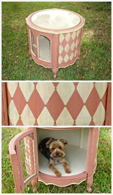 For little dogs . Designer dog crate Finally had the perfect piece to paint Scandinavian Pink CHALK PAINT® decorative paint by Annie Sloan. Animal Projects, Animal Crafts, Dog Crate Furniture, Furniture Ads, Airline Pet Carrier, Diy Dog Bed, Dog Rooms, Pet Beds, Doggie Beds