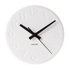 ENGRAVED NUMBERS STEEL CLOCK - WHITE