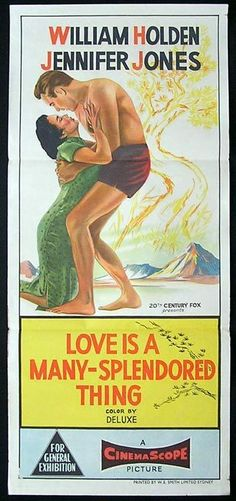 LOVE IS A MANY SPENDORED THING 1955 Daybill Movie Poster William Holden Jennifer Jones