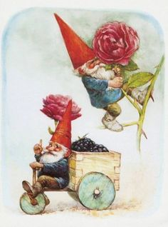 Vintage art print David the gnome and his friend gardening. By Rien Poortvliet. Magical Creatures, Fantasy Creatures, Vintage Cards, Vintage Postcards, David The Gnome, Baumgarten, Humanoid Creatures, Tattoo Illustration, Vintage Art Prints