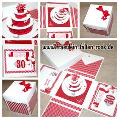 explosionsbox zur hochzeit geldgeschenk tortenstueck rot stampin up handmade explosionsbox. Black Bedroom Furniture Sets. Home Design Ideas