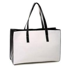 Laconic PU Leather and Color Block Design Women's Shoulder Bag Black Shoulder Bag, Shoulder Bags, New Fashion, Womens Fashion, White Handbag, Pu Leather, Block Design, Handbags, Tote Bag
