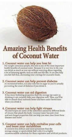 Health Benefits of Coconut Water // In need of a detox? Get your Teatox on with 10% off using our discount code 'Pinterest10' on www.skinnymetea.com.au X