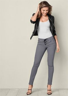 FAUX LEATHER LACE UP JEANS, SEAMLESS CAMI, HIGH HEEL STRAPPY SANDAL