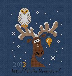 Owl and Elk freebie chart. http://aliolka.blogspot.fr/2012/12/blog-post_264.html