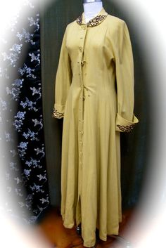 Vintage Antique Yellow Wool Full Length Coat Wrap by taffnie