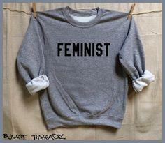 FÉMINISTE. Sweat-shirt unisexe gris. S-XL. Femmes par BurntThreadz