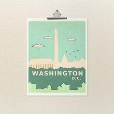 Washington D.C. 8x10 / Nursery Art, Girl, Boy, Baby Decor, Typographic Print, Travel Theme, Skyline, City, Modern Art, Illustration, Giclee on Etsy, 14,01 €