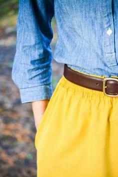 mustard, leather, chambray. #fallstyle