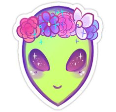 a cool alien with a flower crown, for your hipster aesthetic needs • Also buy this artwork on stickers, stationery, and bags.