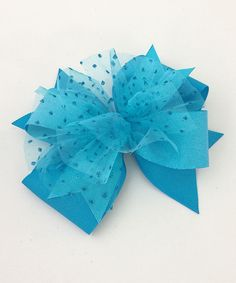 Turquoise Sparkle Layer Bow Clip
