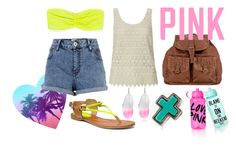 """""""NeonBeaches"""" by silvanacavero ❤ liked on Polyvore featuring Forever 21, River Island, Victoria's Secret PINK, Topshop, Coach, T-shirt & Jeans, lace, denim shorts, feather earrings and neon"""
