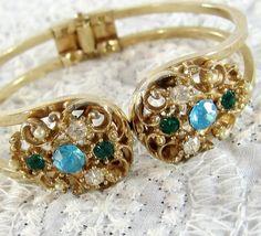 Vintage Cuff Bracelet, Rhinestone Flowers, Blue Green Crystals, Pearls, Gold Openwork, Wide Split Hinged Clamper, 1950's Mad Men Jewelry by AVintageJewelryChest