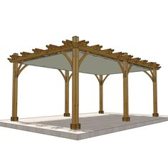 Outdoor Living Today Breeze Cedar 12 ft. x 20 ft. Pergola with Retractable Canopy, Browns/Tans