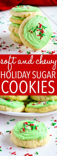 These Soft and Chewy Christmas Frosted Sugar Cookies are the perfect sweet treat that's easy to make and tastes just like your favourite Lofthouse sugar cookies! Recipe from thebusybaker.ca! #cookies #christmas #sugarcookies #frostedcookies #holiday #thanksgiving #christmascookies #sprinkles #christmascraft #easyrecipe #easychristmasrecipe via @busybakerblog