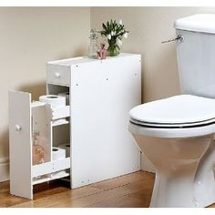 Great Ideas Slimline Space Saving Bathroom Storage Cupboard / Cabinet / Unit - Chest Of Two Drawers - Toilet Loo Roll Holder In White: Amazon.co.uk: Kitchen & Home
