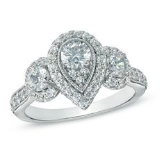 1-1/2 CT. T.W. Diamond Pear Frame Three Stone Engagement Ring in 14K White Gold
