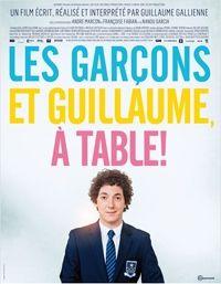 """Les garçons et guillaume, à table ! Guillaume Gallienne, 2013. """"Le premier souvenir que j'ai de ma mère c'est quand j'avais quatre ou cinq ans. Elle nous appelle, mes deux frères et moi, pour le dîner en disant : """"Les garçons et Guillaume, à table !"""" et la dernière fois que je lui ai parlé au téléphone, elle raccroche en me disant : """"Je t'embrasse ma chérie"""", eh bien disons qu'entre ces deux phrases, il y a quelques malentendus. """" Cote :  DVD FIC GAL"""