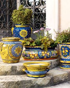 Would love to toss ALL my pots and planters and replace them with these colorful Provence outdoor planters French Decor, French Country Decorating, Outdoor Planters, Planter Pots, Garden Planters, Talavera Pottery, Yellow Cottage, Italian Pottery, French Country Style