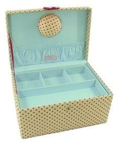 Button It 82356 Cream Dot Print Large Sewing Storage Box 31cm x 23cm x 14½cm: Amazon.co.uk: Kitchen & Home
