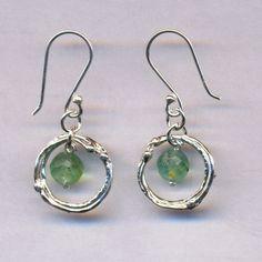 Roman glass dangling #silver #earrings #bluenoemi 45 USD http://www.bluenoemi-jewelry.com/roman-glass-earrings700.html