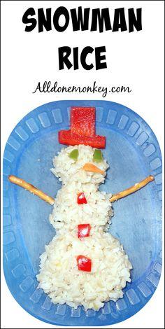 Snowman Rice: Winter Fun for Kids | Alldonemonkey.com