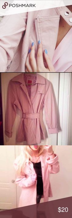 Pastel pink winter trench coat Small  NWOT - removable belt  Trench coat wind breaker- Knee length - botton down. Pastels Clothing Jackets & Coats Trench Coats