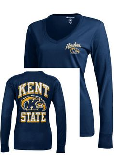 Product: Kent State University Golden Flashes Women's Long Sleeve V-Neck Campus T-Shirt
