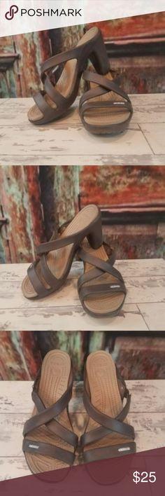 Crocs Cyprus IV Espresso High Heels Sandals Sz 7 Crocs Women's Cyprus IV Espresso Mushroom High Heels Sandals -Sz 7 in very good condition! CROCS Shoes Sandals