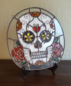 Digital Stained Glass Pattern  Dia de los Muertos Sugar Skull