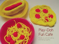 Crazylittlelovebirds: Play-Doh Cafe - Pretend play is important in learning.