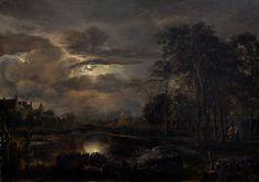 Moonlit Landscape with Bridge - probably 1650, Aert van der Neer  Dutch