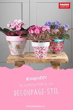 Gestalten Sie mit Serviettentechnik Blumentöpfe im Decoupage-Stil! Die Anleitung finden Sie unter ideenwerk.at #pagroDIY #serviettentechnik #frühling #blumentöpfe
