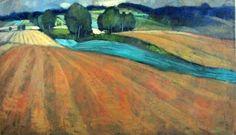 Miroslav Bucher - Portrét zeme - úrodné polia, olejomaľba na plátne, 70 x 120 cm