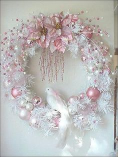 ** Pink & White Christmas Wreath Shabby Chic Style. Decorated With Floral Picks, Bulbs Ribbons, & A Dove @enchantedrosestudio