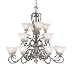 Devonshire Satin Nickel Silvermist Sixteen Light Chandelier With Faux Alabaster Glass