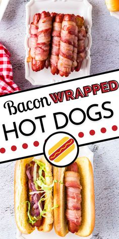Take the humble hot dog to the next level with this Bacon Wrapped Hot Dogs recipe. Both baking and grilling instructions are included in this recipe! For more easy Summer recipes follow Food Folks and Fun! Potluck Recipes, Casserole Recipes, Easy Dinner Recipes, Appetizer Recipes, Dessert Recipes, Easy Summer Meals, Summer Recipes, Easy Meals, Hot Dog Recipes