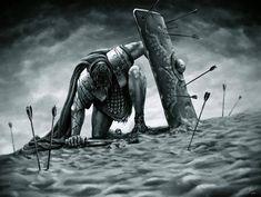 Marcus Cassius Scaeva by James Rinere - - Gladiator Tattoo, Warrior Tattoos, Viking Tattoos, Greek Warrior, Fantasy Warrior, Gott Tattoos, 3d Tattoos, Tattoo Ink, Escalier Art