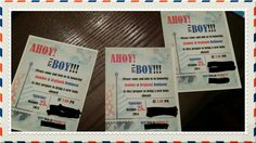 Navy boy baby shower invitations!