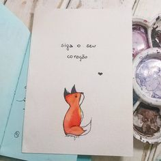 "87 curtidas, 10 comentários - Hiasmyn L. (@hiasmynl.ilustras) no Instagram: ""Sempre. ❤ {11/366}  #fox #babyfox #puppies #illustration #watercolor #aquarela #ilustração #raposa"""