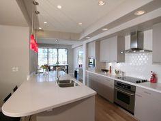 Galley kitchen grey with white corien