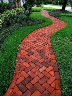 15 DIY Garden Path Ideas for Backyard and Front yard - napier news Path Design, Landscape Design, Garden Design, Design Ideas, Landscape Steps, Brick Design, Landscape Pictures, Small Front Yard Landscaping, Backyard Landscaping