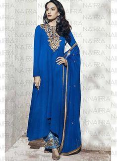 Royal Blue Zari Work Stone Work Georgette Designer Pakistani Salwar Kameez http://www.angelnx.com/Salwar-Kameez/Pakistani-Suits