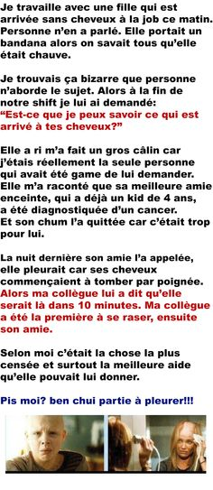 Lutter contre le cancer Image Fun, Daily Meditation, Faith In Humanity, Positive Attitude, True Stories, Affirmations, How To Look Better, Cancer, Sad