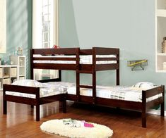 Our Charlotte corner triple bunk bed in cappuccino is an innovative way to sleep three kids in one room. Add the matching twin size trundle bed to sleep four k