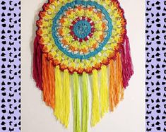Items similar to Crochet Dreamcatcher Lagoon with tie dye thread on Etsy Crochet Dreamcatcher, Believe In Magic, Dream Catcher, Crochet Earrings, Tie Dye, Etsy, Crochet Hats, How To Make, Color