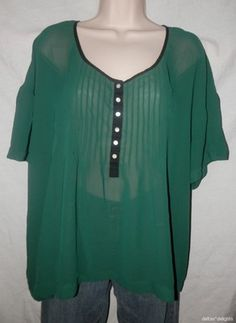 Womens Kimchi Blue Top L Large Green Sheer Short Sleeve Urban Outfitters Boxy | eBay