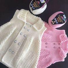 Şişli Knitting Baby Girl Dress Making - Babykleidung Knitting Baby Girl, Baby Sweater Knitting Pattern, Knitting For Kids, Baby Knitting Patterns, Knitting Designs, Baby Patterns, Knit Baby Dress, Baby Cardigan, Crochet Baby Dresses
