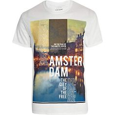 #RIVERISLAND WHITE AMSTERDAM PHOTOGRAPH PRINT T-SHIRT An easy look all year round, this white Amsterdam photographic print tee is a wise wardrobe investment. Features short sleeves and crew neck.