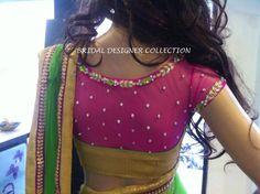 stone studded sheer back blouse
